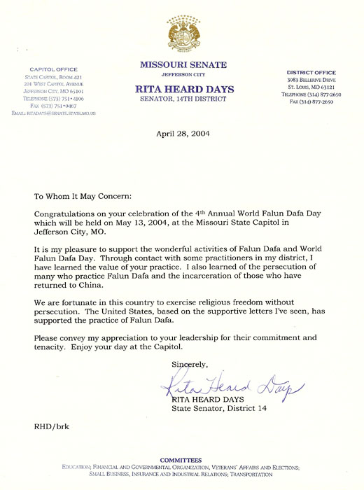 Letter From Missouri State Senator Rita Heard Days Congratulating