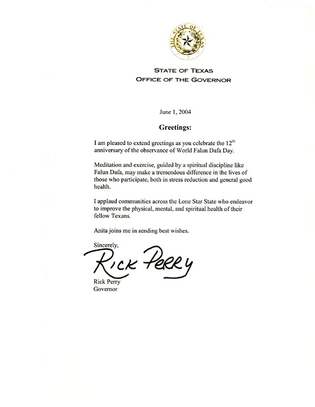 Superb Texas State Governor Rick Perry Extends Greetings To The Anniversary Of  World Falun Dafa Day [June 1, 2004]