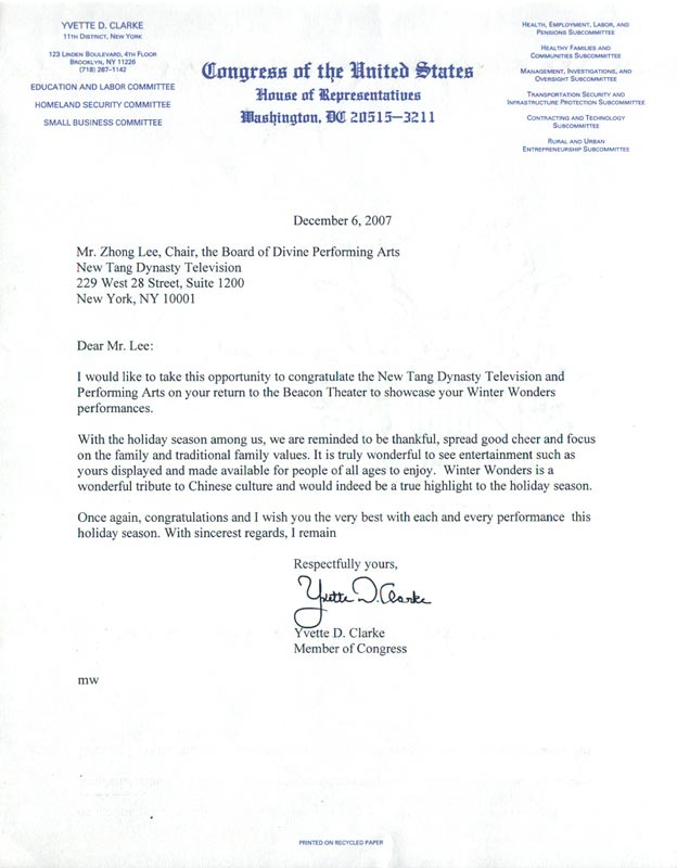 New york congresswoman yvette clarke sends congratulatory letter respectfully yours yvette d clarke member of congress spiritdancerdesigns Images