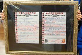 由新西兰联合部落酋长议会签名的奥提洛瓦法轮大法周的证书