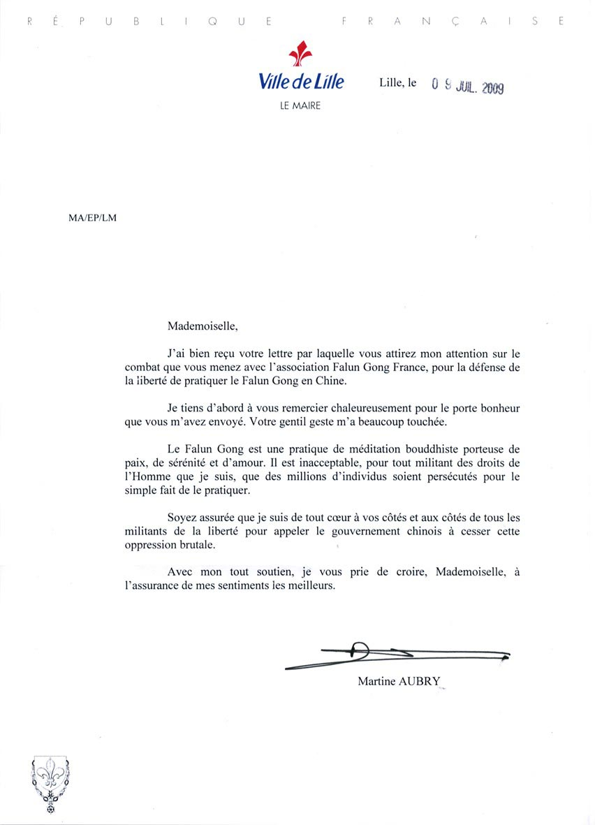 France: Mayor Of Lille Sends Practitioners Letter Of Support (Photo
