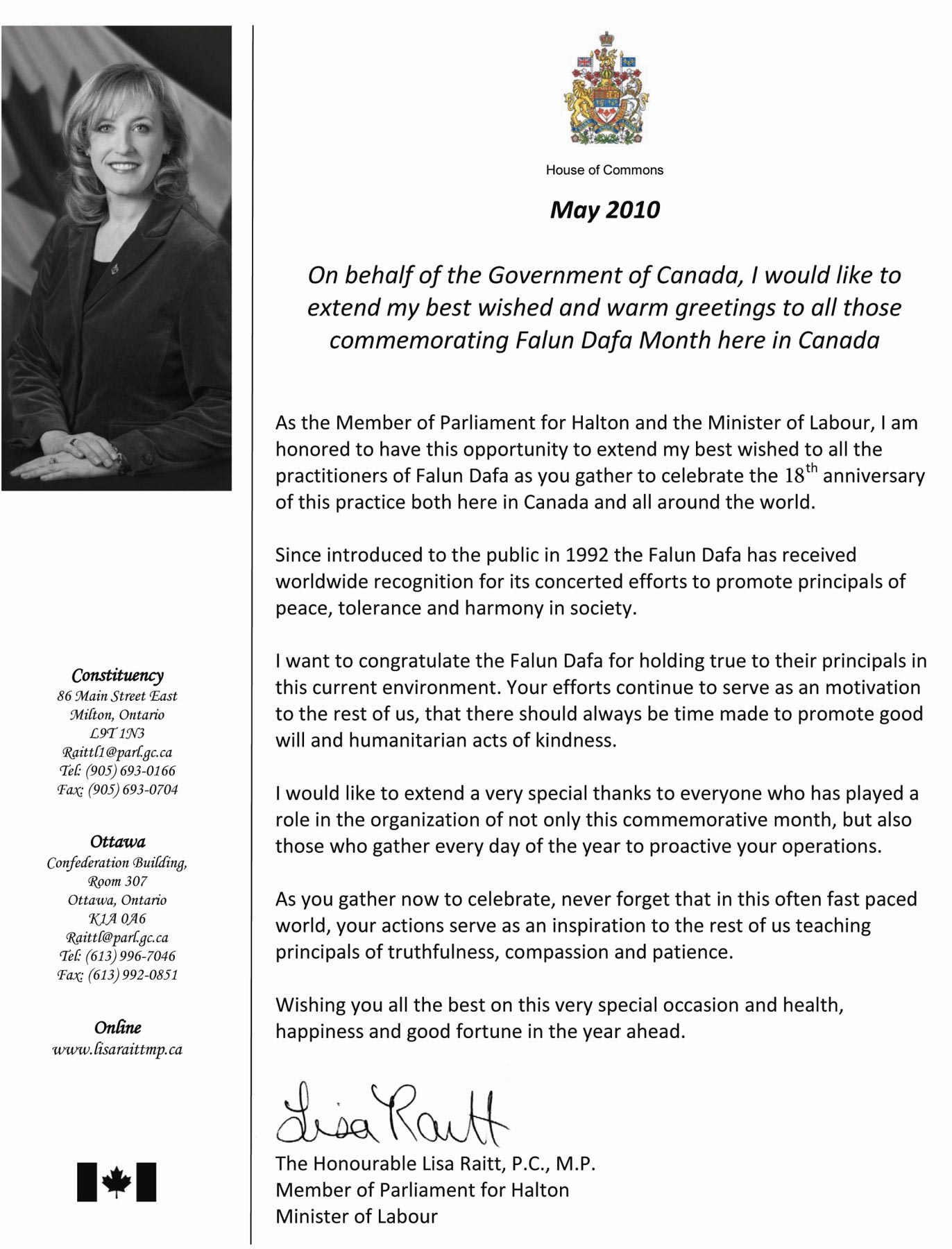 Canada minister of labour and chair of the standing committee on canada minister of labour and chair of the standing committee on canadian heritage extend personal greetings in honor of falun dafa month m4hsunfo
