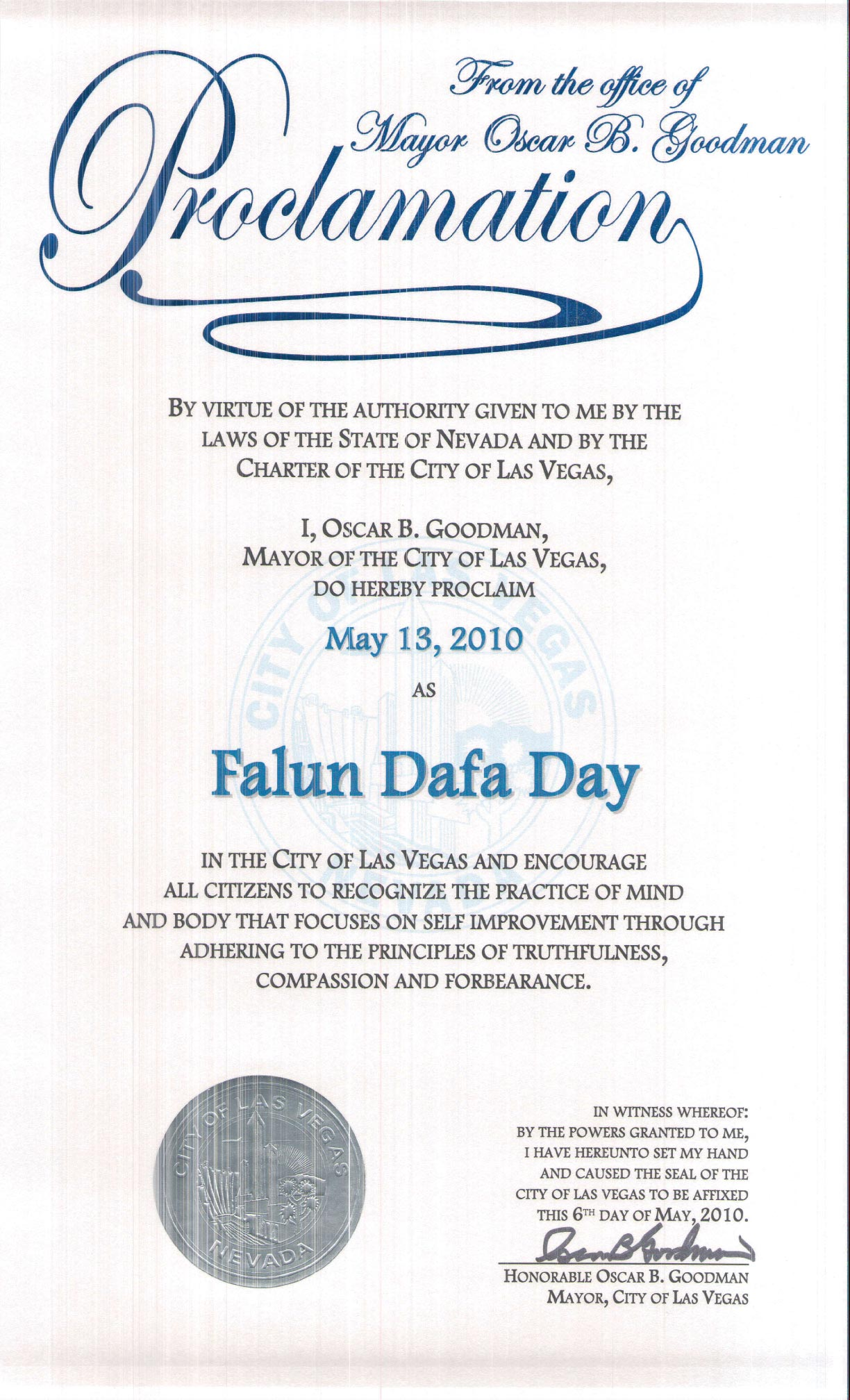 Falun Dafa Las Vegas: Awards and Recognitions in Nevada