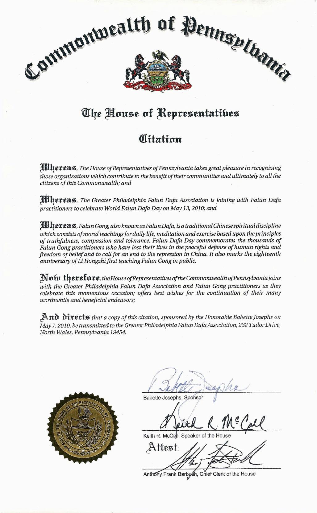 pennsylvania  house of representatives issues citation in
