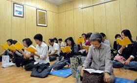 台湾桃竹苗学员一起学法、交流如何用电话讲清真相救人。