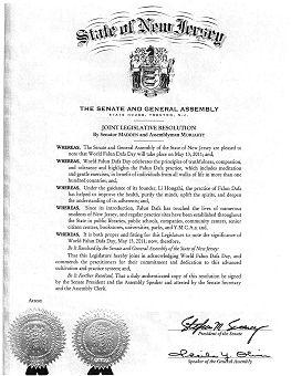 二零一一年五月,美国新泽西州参众两院通过联合决议,表彰世界法轮大法日