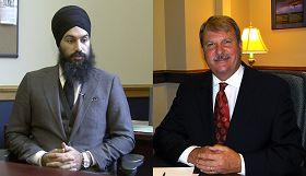加拿大安省议员麦克拉伦(右)和辛格(左)谴责中共活摘法轮功学员器官的暴行,并希望中国人能获得自由与人权保障