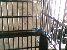 '朱桂林弟弟家门前紧闭上锁的铁门,朱桂林被非法拘禁了二十多天'
