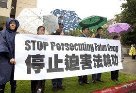 '二月十五日,上百名法轮功学员和支持者冒雨在中共驻洛杉矶领事馆前责令停止对法轮功的迫害、法办元凶。'