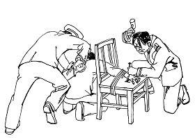 Ilustrasi Penyiksaan 12: Menusuk dengan Benda Tajam