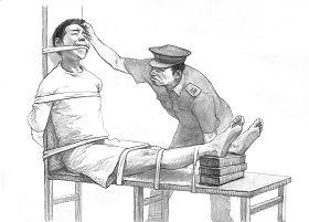酷刑示意图:老虎凳