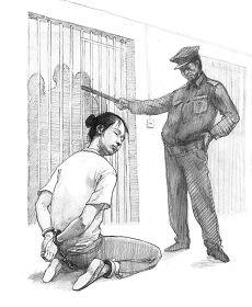 Ilustrasi Penyiksaan 14: Memborgol dan Merantai sehingga Tubuh Dipaksa ke Posisi Menyakitkan