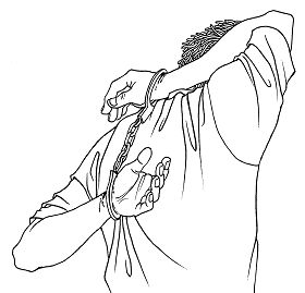 Ilustrasi Penyiksaan 21: Memborgol Tangan ke Belakang Punggung di mana Salah Satu Tangan Melalui Atas Bahu