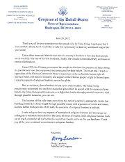 美国科罗拉多州联邦众议员道格•兰伯恩给法轮功学员的声援信