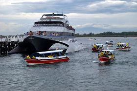 """'热情地欢迎观光艇上的中国游客,并向他们喊""""法轮大法好!""""'"""