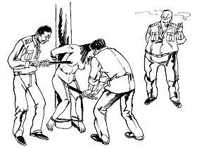 '中共酷刑示意图:性虐待,恶警用电棍电击法轮功女学员的乳房、阴部,把电棍插入妇女阴道内电击,连未婚的姑娘也不放过。'