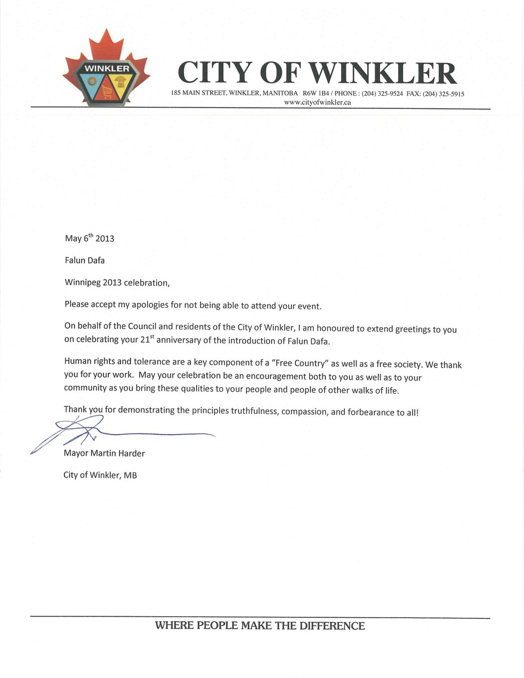 Canada government officials write to congratulate 21st anniversary letter of greeting from martin harder mayor of the city of winkler m4hsunfo