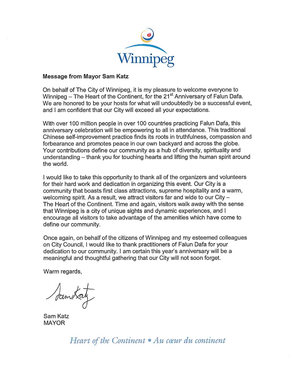 Canada government officials write to congratulate 21st letter of greeting from sam katz mayor of the city of winnipeg kristyandbryce Images
