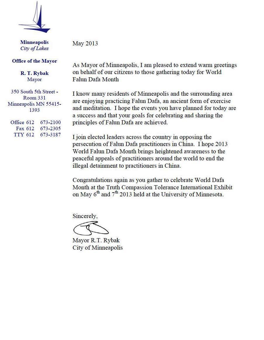 Minnesota, Usa: Mayor Of Minneapolis Sends Greetings For World Falun