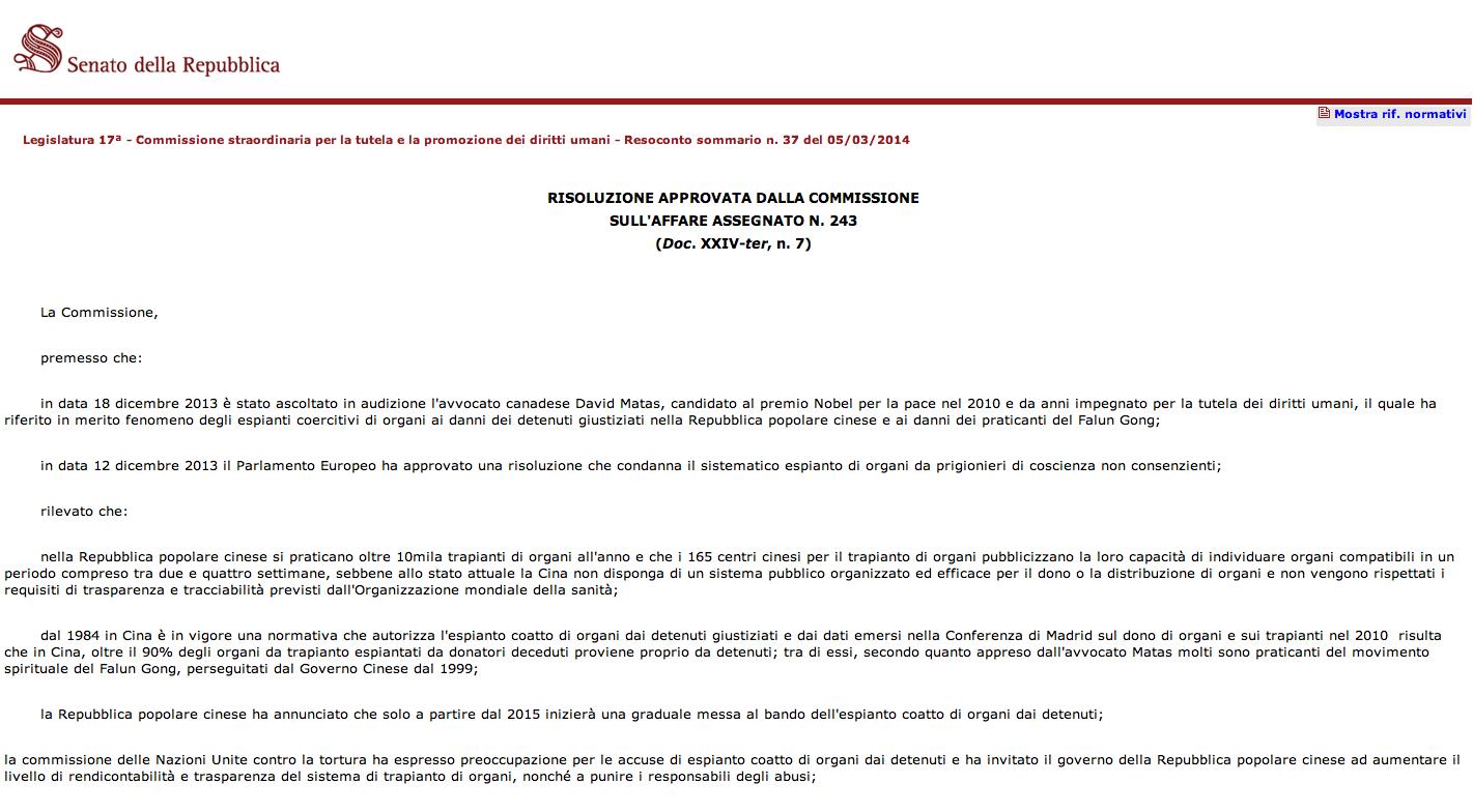 Włoski senat przegłosował rezolucję wzywającą do wszczęcia śledztwa w sprawie grabieży organów w Chinach