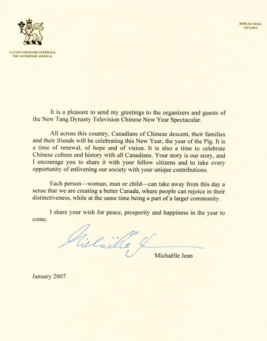 Governor General Of Canada Sends Greetings To Divine