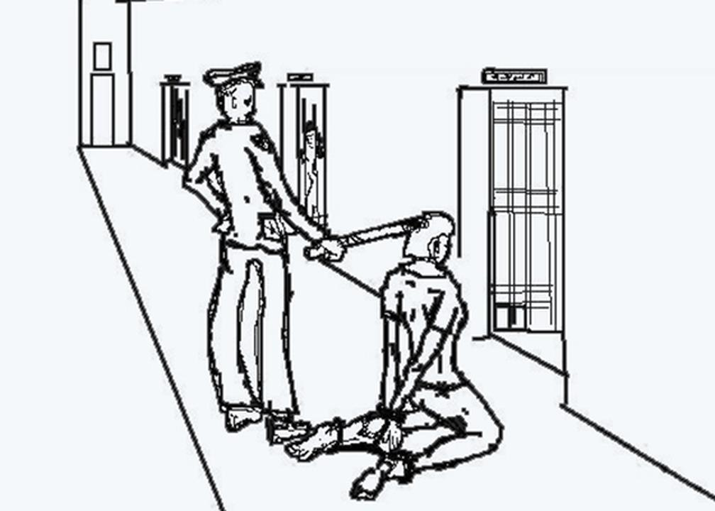 hands in shackles drawing. handcuffs and shackles connected in the back. \u201c hands drawing h