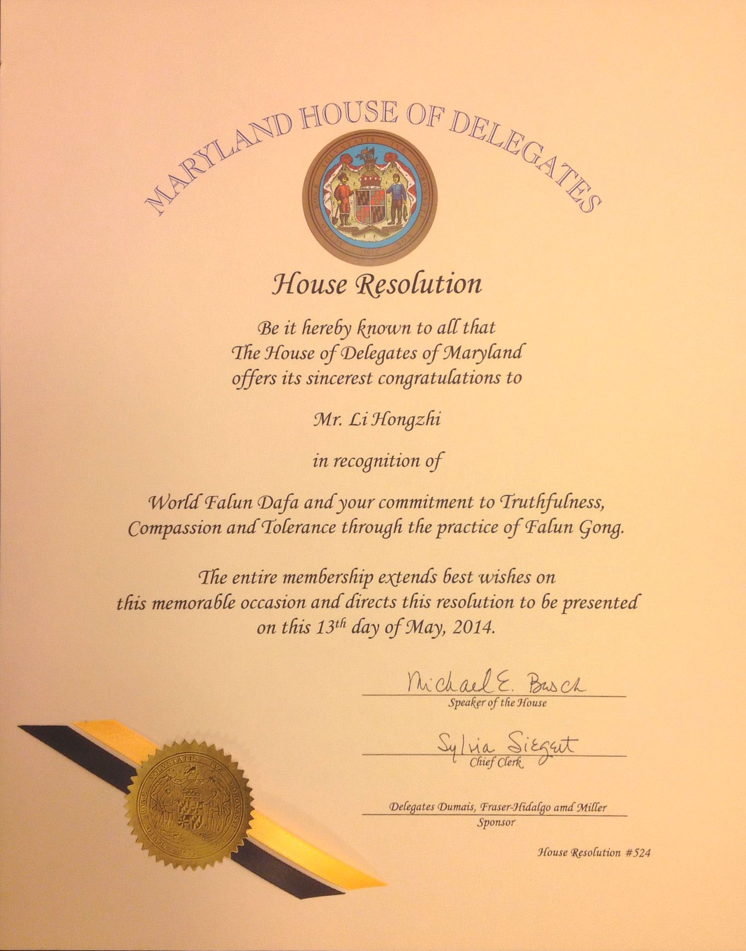 Washington dc maryland state legislatures honor falun gong on the resolution by the maryland house of representatives xflitez Gallery