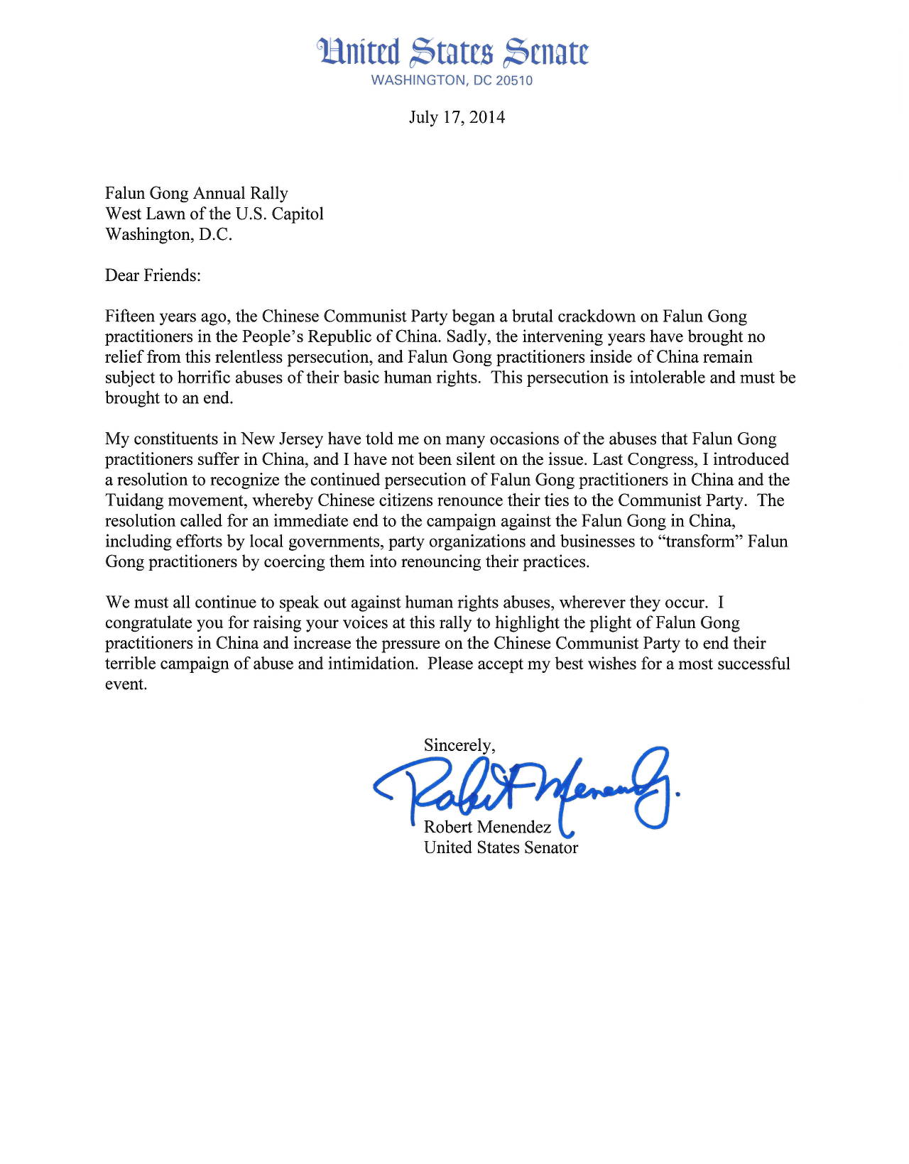 Us federal legislators support falun gong on the 15th support letter from senator robert menendez of new jersey ccuart Image collections