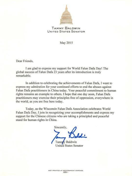 Us senator tammy baldwin supports falun dafa day falun dafa letter from senator tammy baldwin ccuart Image collections