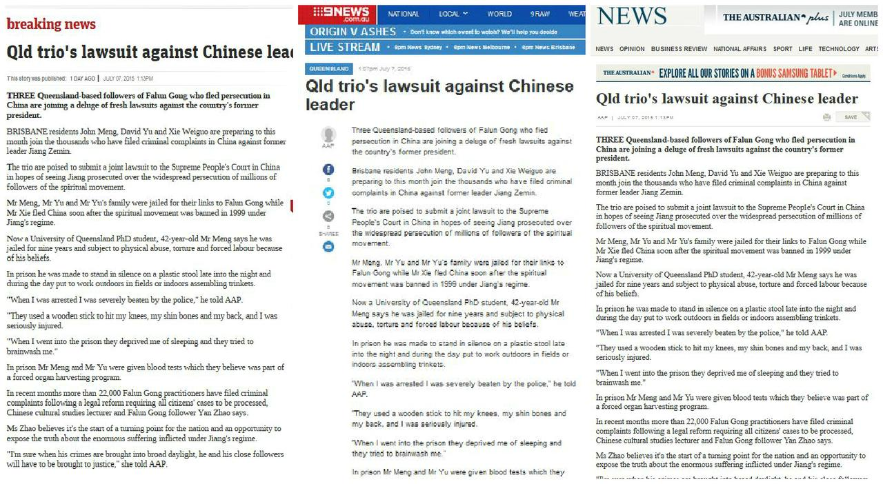 Australia: News of Lawsuits Against Former Chinese Dictator