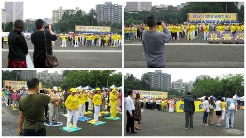Wisatawan dari Tiongkok menonton dan merekam kegiatan Falun Gong berskala besar, sesuatu yang mereka hanya bisa lihat saat bepergian ke luar negeri karena penganiayaan Falun Gong di Tiongkok