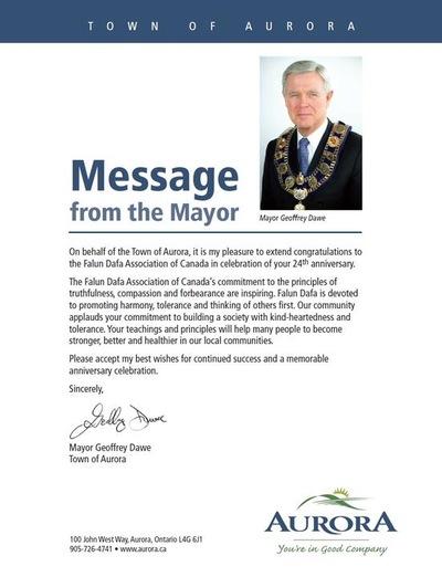 Yang Terhormat Geoffery Dawe Wali Kota Aurora, mengirimkan ucapan selamat untuk peringatan ke 24 Falun Dafa diperkenalkan ke publik.