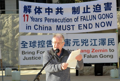 Gerard Flood dari Partai Buruh Demokratik mengatakan penindasan terhadap praktisi Falun Gong belum pernah terjadi sebelumnya.