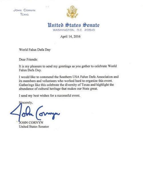Ucapan selamat dari Senator Texas John Cornyn