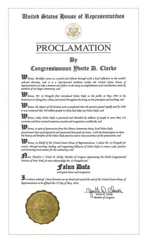 """…sekarang Falun Dafa dipraktekkan dan dihargai oleh jutaan orang di lebih dari 114 negara serta telah menerima berbagai penghargaan dan pengakuan seluruh dunia,"" demikian proklamasi dari Yvette Clarke, wakil dari distrik 9 Kota New York"