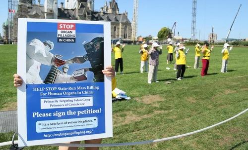 Peragaan latihan Falun Gong di depan Parliament Hill di Ottawa pada 26 Agustus 2016 yang meminta bantuan untuk menghentikan penganiayaan.