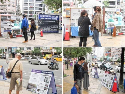 Pejalan kaki membaca poster tentang Falun Gong dan penganiayaan / penyiksaan