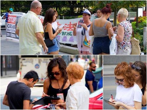 Pengumpulan tanda tangan di pusat kota Toronto