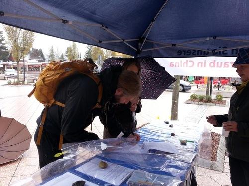 Meskipun turun hujan, para turis menandatangani petisi untuk menyerukan diakhirinya penganiayaan