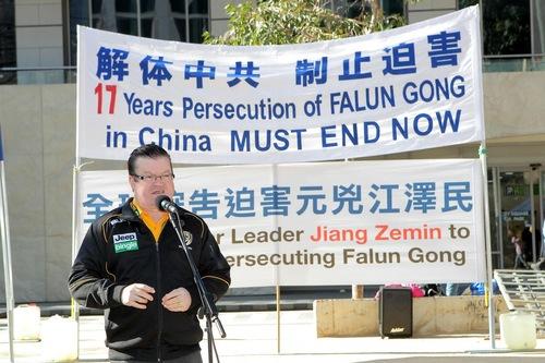 Bernie Finn Anggota Dewan mengatakan praktisi Falun Gong tidak memiliki kebebasan berkeyakinan di Tiongkok.