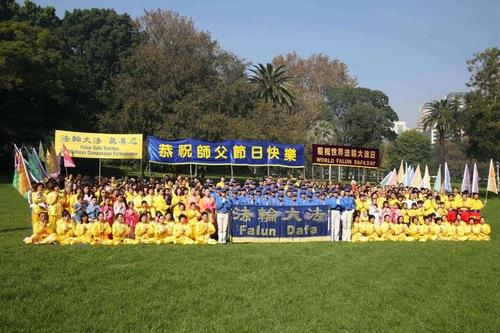 Praktisi Falun Dafa berkumpul di Hyde Park.