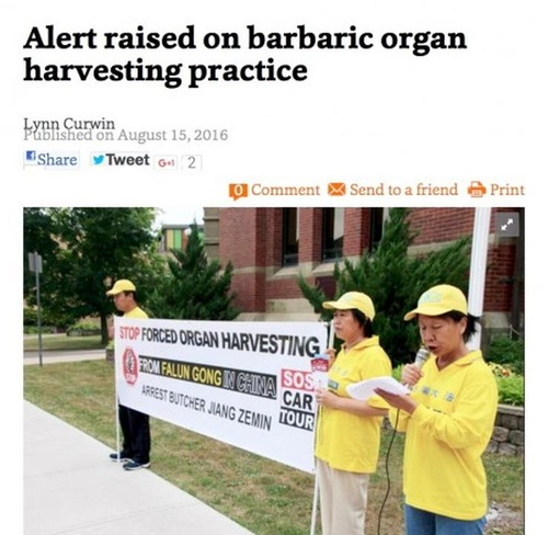 Truro Daily News di Nova Scotia menceritakan tentang kisah praktisi Huang, yang ditangkap empat kali dan dipaksa untuk melakukan kerja keras di Tiongkok.