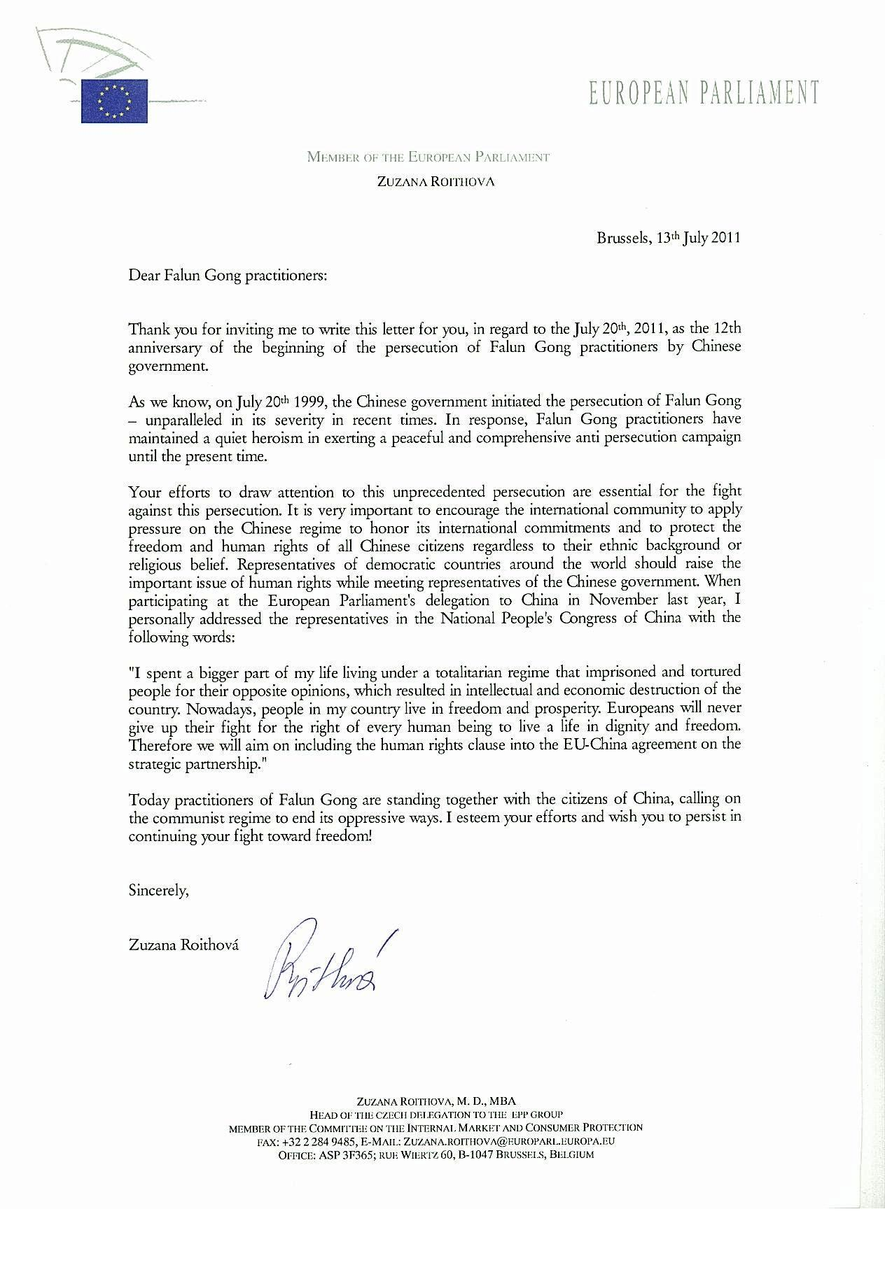 European Members of Parliament Write to Support Falun Gong